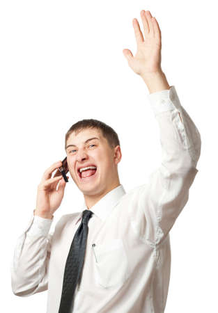 businessman calling by phone and rising up hand Stock Photo - 3861716