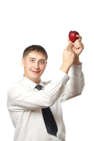 businessman showing red apple Stock Photo - 3861711
