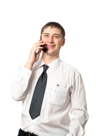 happy businessman calling by phone, isolated half-length portrait Stock Photo - 3861706