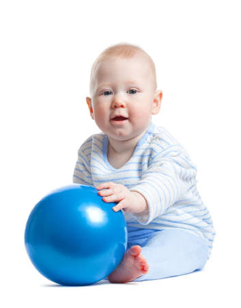 cute little baby boy with blue ball isolated on white background photo