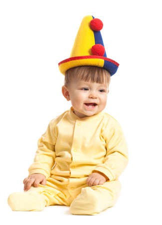 baby boy with clown hat, isolated on white photo