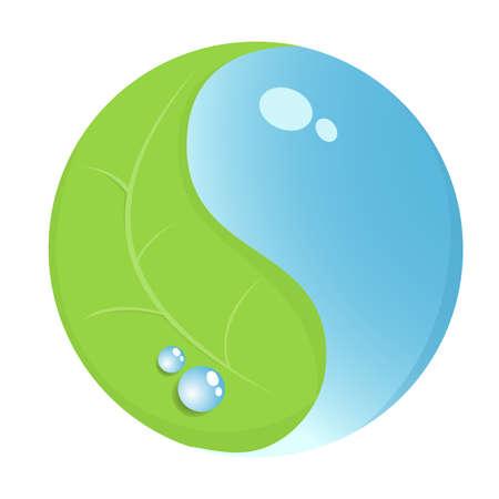 yin et yang: yin yang symbole de la feuille et de l'eau