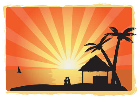 couple sitting on the coat, tropical sunset vector  Vector