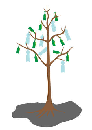 tree with bottle leaves, pollution ecology concept Vector
