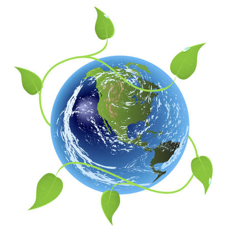 isolated earth globe with plant leaves Stock Vector - 4811670