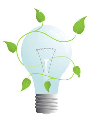isolated vector bulb with green leaves Stock Vector - 4811665