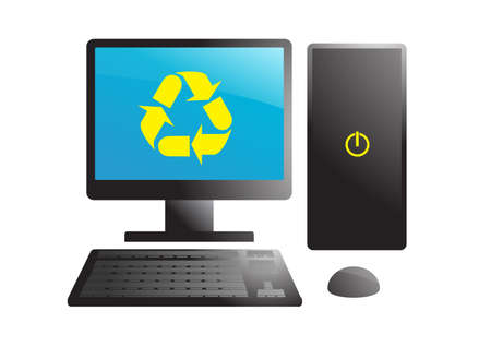isolated black recycling computer Vector