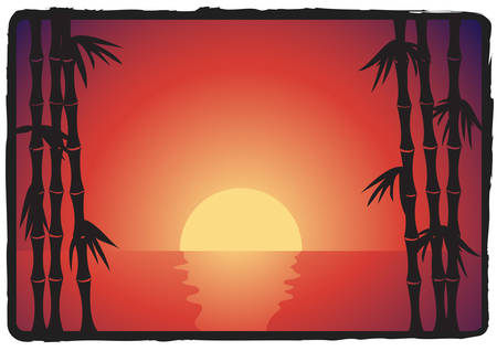 asian bamboo sunset landscape Vector