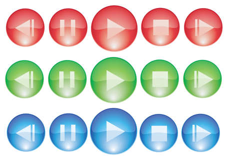player control red green blue glossy buttons Vector