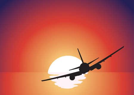 赤い日没の上の黒い飛行機のシルエット  イラスト・ベクター素材