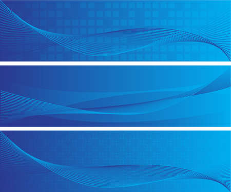 three blue vibrant vector web banners size 600x160 Vector