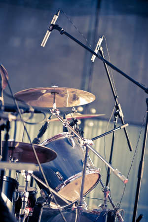 drum set: drums and microphones on the concert Stock Photo