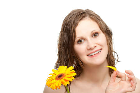 woman telling fortunes with gerbera