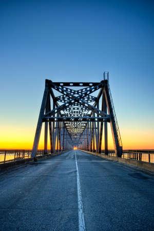 automobile bridge on sunrise