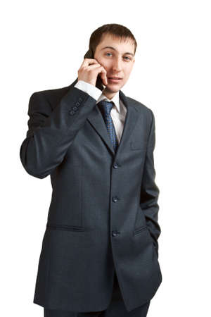 businessman calling by phone isolated on white Stock Photo - 6357182