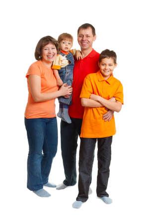 happy family studio full length portrait on white Stock Photo