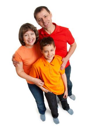 family wide angle portarait isolated on white background Stock Photo - 6454100