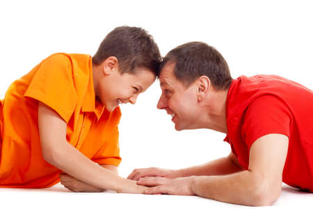 joyful guys playing on white background photo