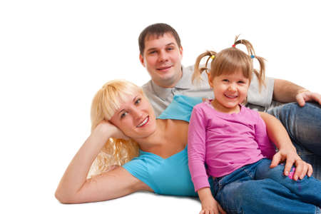 family portrait over white background photo