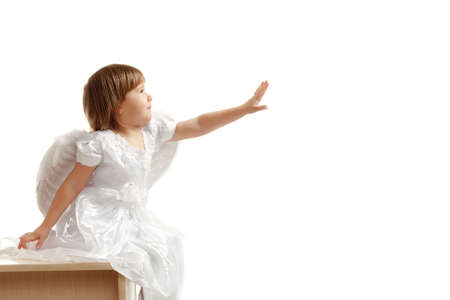 girl reach out her hand on white