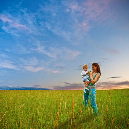 mother and son on the filed Stock Photo