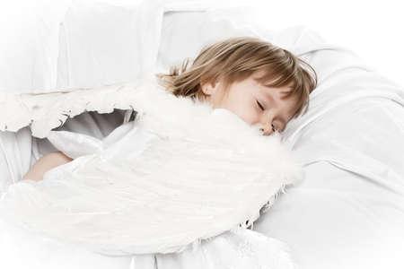 sleeping angel girl ver white Stock Photo - 6534416