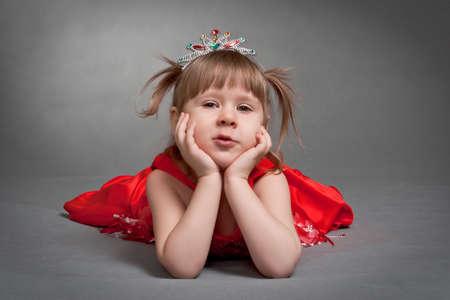 cute little pincess in red dress photo