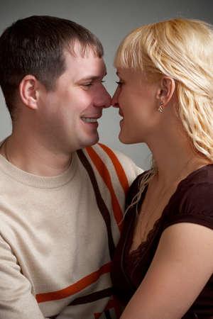 happy lovely couple closeup portrait photo