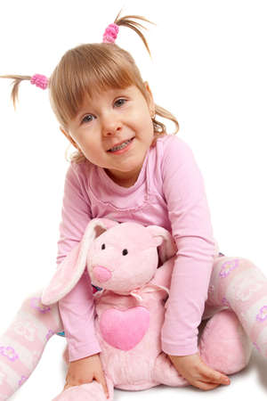 ltttle happy girl portrait over white photo