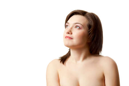 portrait of looking up woman over white Stock Photo - 6616979