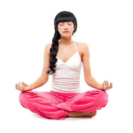 woman meditating in lotus pose over white Stock Photo - 6781145
