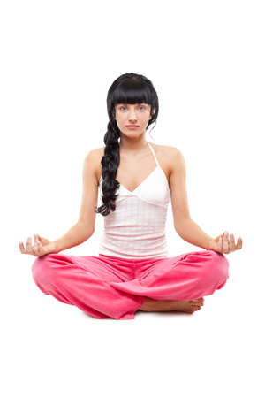 woman in lotus pose over white Stock Photo - 6781147