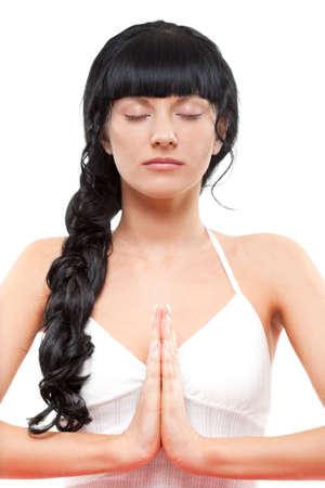closeup portrait of meditating woman over white Stock Photo - 6838711