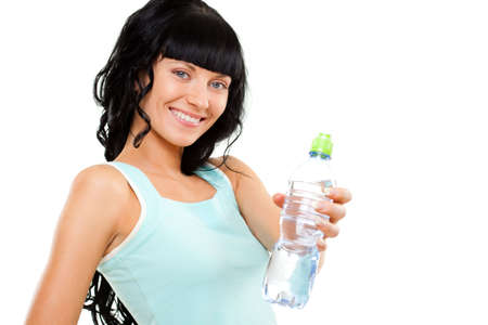 woman holding bottle of pure water over white photo
