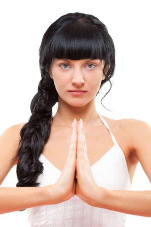 closeup portrait of yoga practicing woman Stock Photo - 6838618