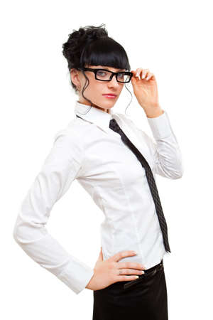 businesswoman holding glasses over white photo
