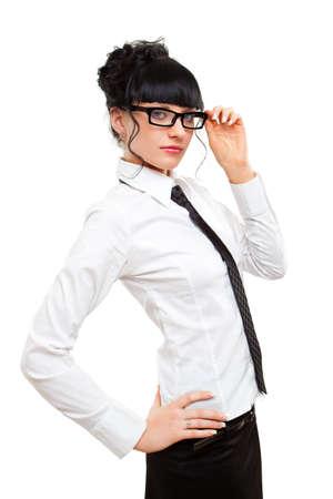 mujer con corbata: gafas de explotaci�n empresaria sobre blanco
