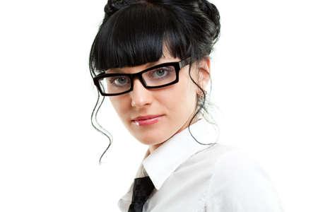 closeup businesswoman portrait over white photo