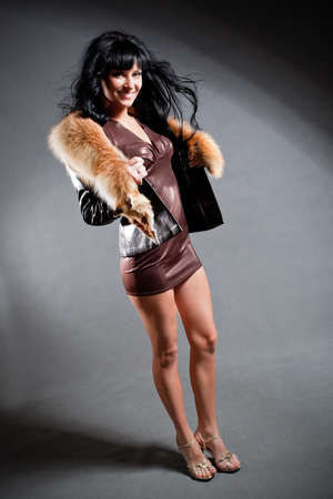 sexy fur: sexy woman wearing jacket with fur Stock Photo