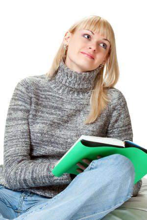 blond woman with book over white photo
