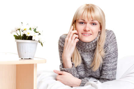 blondie woman calling by phone over white Stock Photo - 7071391