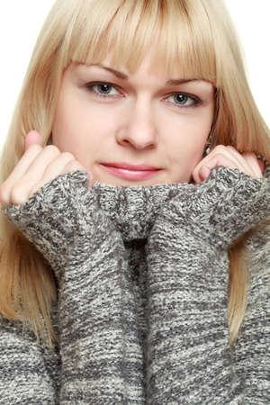 closeup blonde wearing sweater photo