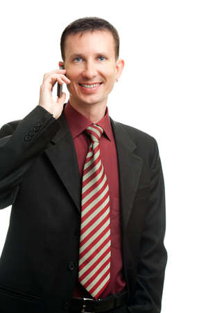 happy businessman calling by phone over white Stock Photo - 7254503
