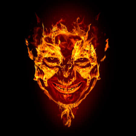 demonio: cara de diablo sobre fondo negro de incendios