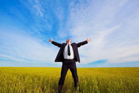 empresario en campo amarillo bajo cielos azules