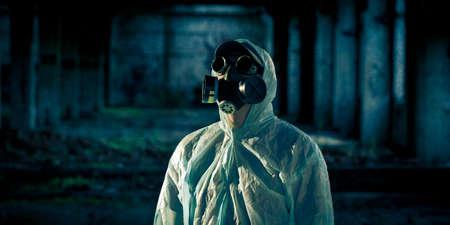 portrait of man in respirator photo