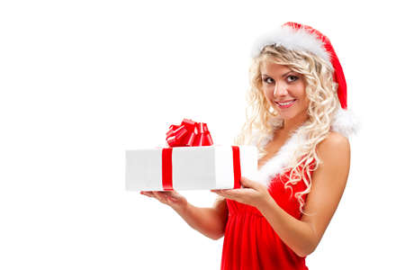 tempting santa helper blonde woman photo