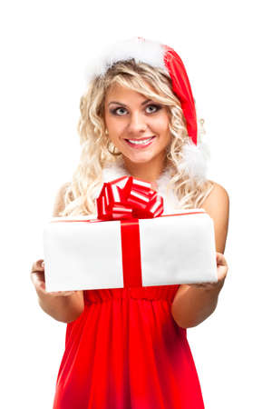 seductive santa helper blonde girl with gift box photo
