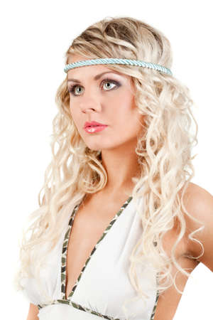 majestic woman portrait with headband, over white photo