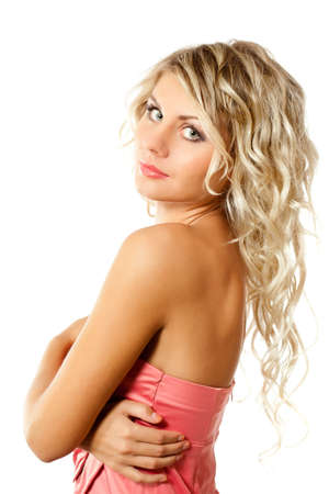 blonde woman portrait wearing pink dress over white photo